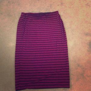 Burgundy striped skirt